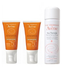 Avene Πακέτο  Eau Thermale Solaire Anti Age Dry Touch SPF50+, 2x50ml + Δώρο Avene Eau Thermale Spring Water 50ml