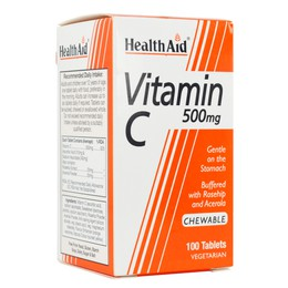 Health Aid Vitamin C 500mg with Rosehip and Acerola Μασώμενη Βιταμίνη C, 100 chew. tabs