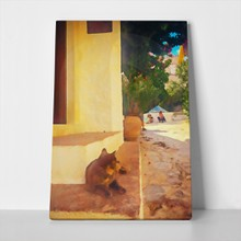 Cat on stairs painting 752361937 a