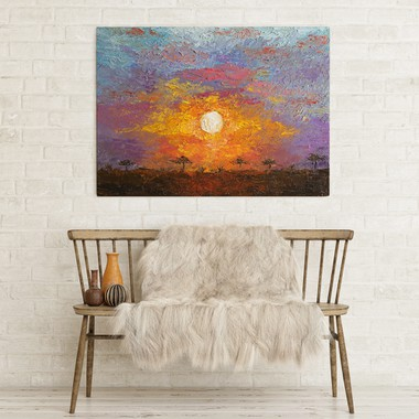 African sunset painting