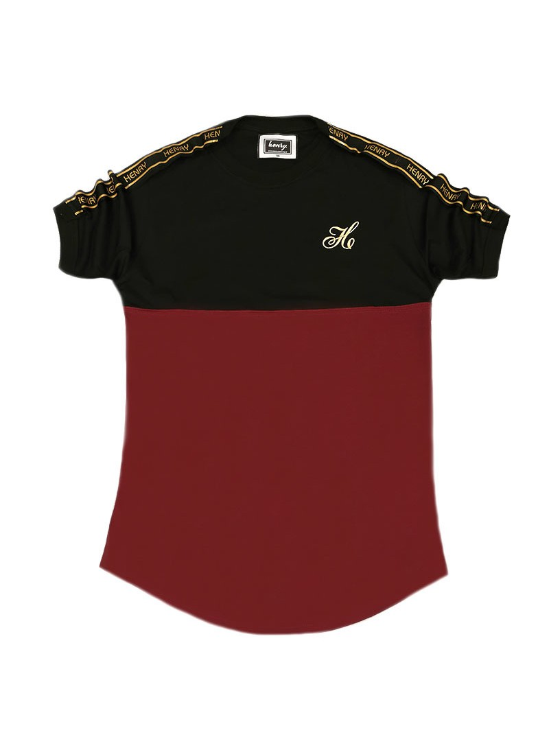 HENRY CLOTHING HALF BORDEAUX HALF BLACK T-SHIRT