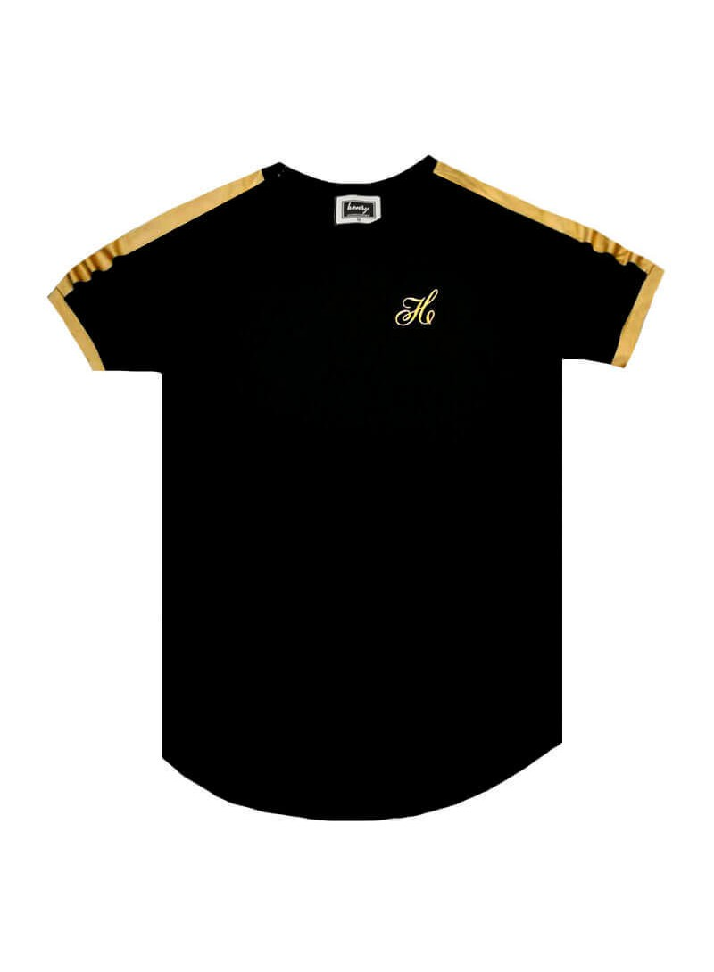HENRY CLOTHING BLACK T-SHIRT WITH GOLD RIBBON