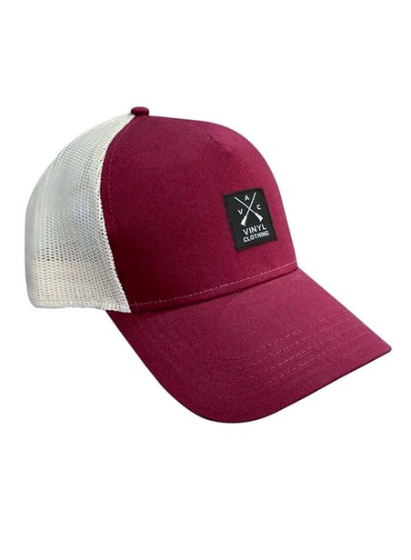 VINYL ART CLOTHING BORDEAUX/BEIGE RAPPER CAP