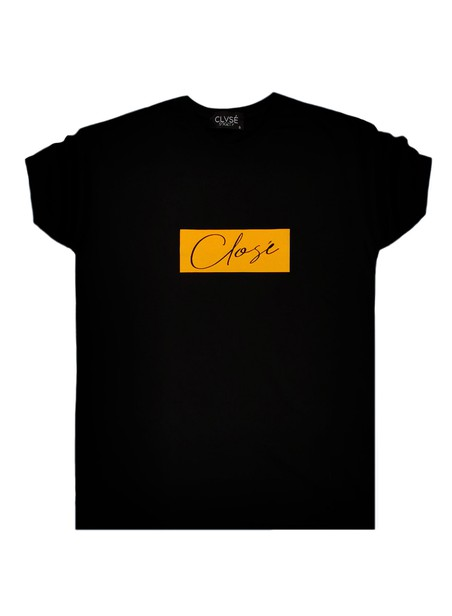 CLVSE SOCIETY BLACK T-SHIRT 304 YELLOW SUEDE LOGO