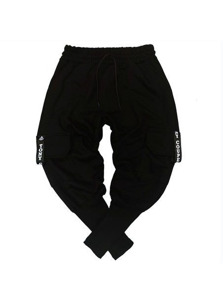 TONY COUPER BLACK CARGO POCKET TRACKPANTS