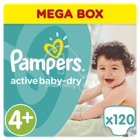 PAMPERS - MEGA BOX Active Baby Dry No4+ (9-16kg) - 120 πάνες