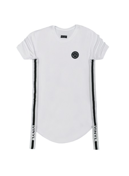 VINYL ART CLOTHING WHITE SIDED STRIPE T-SHIRT