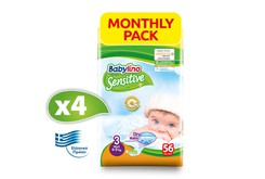 BABYLINO - MONTHLY PACK SENSITIVE Midi No3 (4-9kg) - 224 πάνες