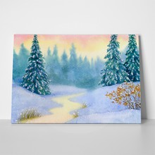 Watercolor snow covered forest 67939414 a