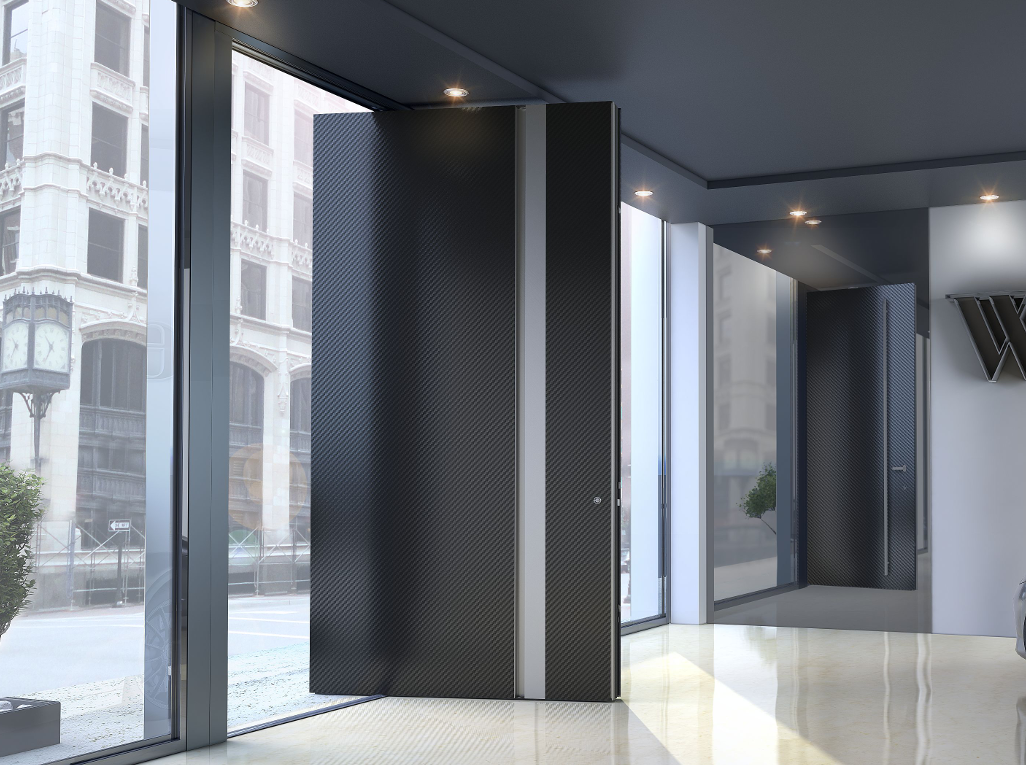 Zen pivot carbon fiber entrance door