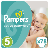 Pampers Active Baby Dry Giant Pack No5 (Junior) 11-18kg 78 Πάνες