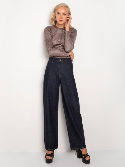 High rise wide leg denim pants
