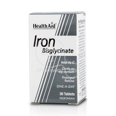 HEALTH AID - Iron Bisglycinate with Vitamin C - 30tabs