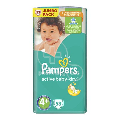 PAMPERS - JUMBO PACK Active Baby Dry No4+ (9-16kg) - 53 πάνες