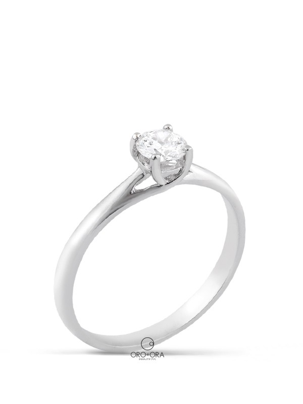 Solitaire Ring White Gold K18 with Diamond 0,30ct