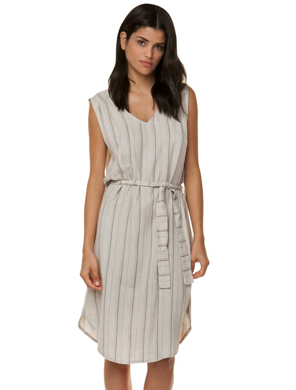 1793cc1b8b89 Ριγέ φόρεμα με λινή όψη - Toi&moi