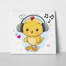 Cartoon chicken with headphones 1049715446 a