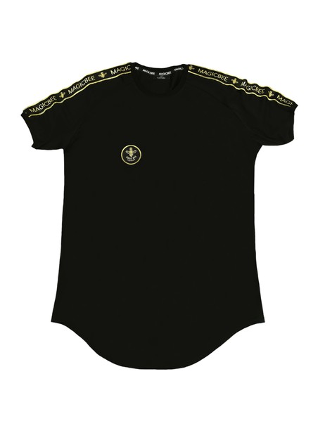 MAGIC BEE CLOTHING BLACK T-SHIRT WITH GOLD RIBBON