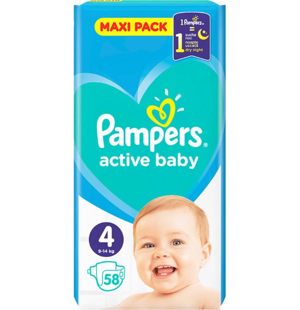 PAMPERS ACTIVE BABY ΜΕΓ 4 (9-14kg) 1x 58 MAXI