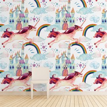 Watercolor little unicorn seamless a