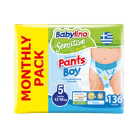 BABYLINO - MONTHLY PACK SENSITIVE Pants Boy No5 (12-18Kg) - 136 πάνες
