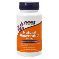 NOW NATURAL RESVERATROL WITH RED WINE & GREEN TEA EXTRACT 50MG, 60 VEG. CAPS