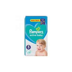 PAMPERS Active baby night N5 πάνα για μωρά από 11-16 κιλά 51τεμάχια maxi pack