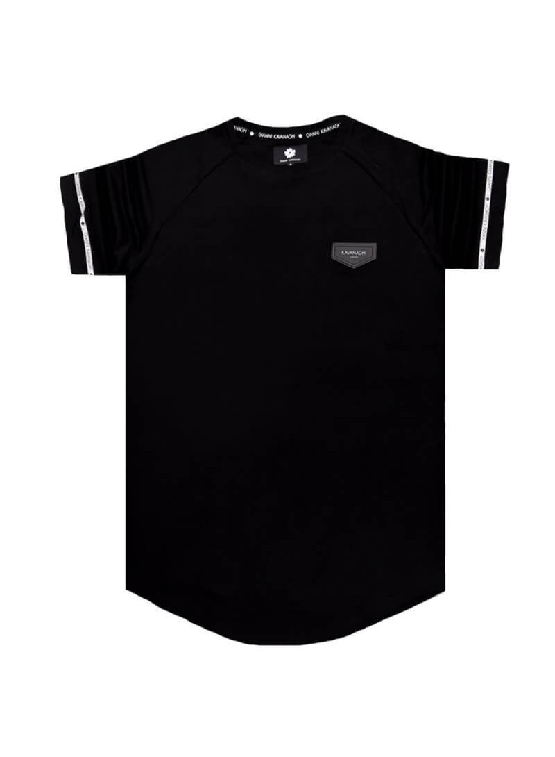 Gianni Kavanagh Black Raglan Tee with GK Mini Ribbon Detail