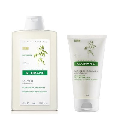 Klorane shampoo 400ml and conditioner oat milk