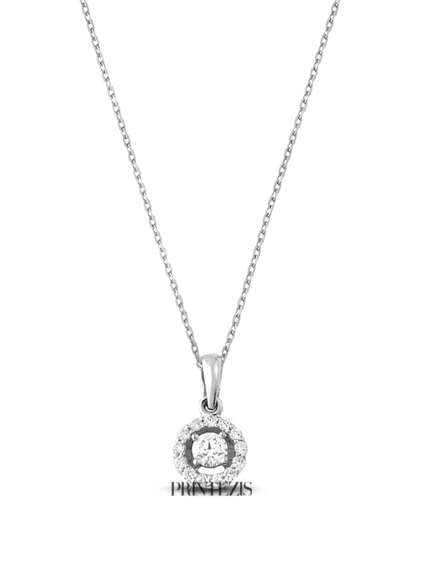 Necklace White Gold K18 with Diamonds