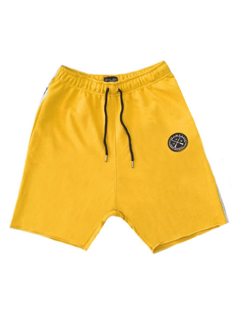 VINYL ART CLOTHING YELLOW SHORTS WITH SIDED STRIPES