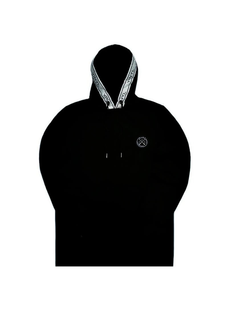 VINYL ART CLOTHING HOODIE WITH TAPED DETAILS BLACK