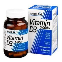 Health Aid Vitamin D3 5000IU 30veg.caps