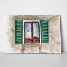 Beautiful window with geraniums 422973838 a