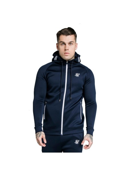 SikSilk Element Zip Through Hoodie - Navy & White