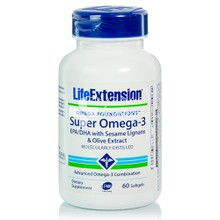 Life Extension Super Omega 3 EPA/DHA with Sesame Lignans & Olive Extr. - Καρδιά / Κυκλοφορικό, 60softgels
