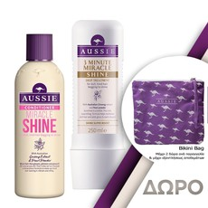 Aussie Miracle Shine Conditioner Μαλακτική Κρέμα 250ml + 3 Minute Miracle Shine Deep Treatment Εντατική Μάσκα Μαλλιών 250ml.