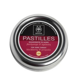 Apivita pastilles for sore throat and cough relief with blackberry   propolis 45gr