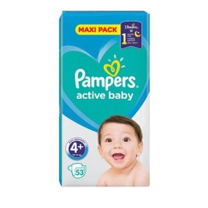 PAMPERS Active baby πάνα για μωρά N4+ 9-16kg Jumbo pack 53τεμάχια