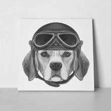 Beagle dog vintage helmet hand drawn 535213000 a