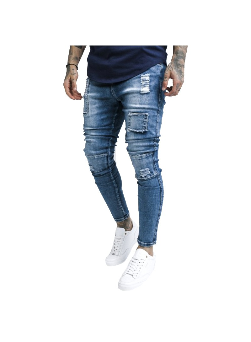 SikSilk Bust Knee Low Rise Denims – Washed Blue
