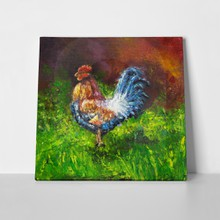 Oil painting blue orange rooster 343038095 a