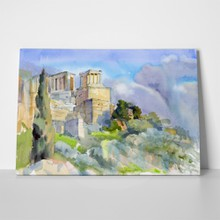 Majestic acropolis athens watercolor 1052104082 a