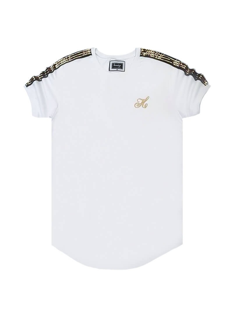 HENRY CLOTHING WHITE T-SHIRT WITH GOLD TAPE