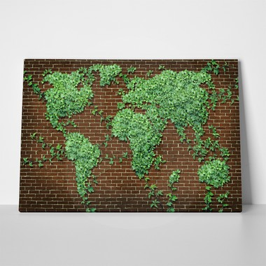 Rectangular Canvas Print LEAVES WORLD MAP 2 - Sticky