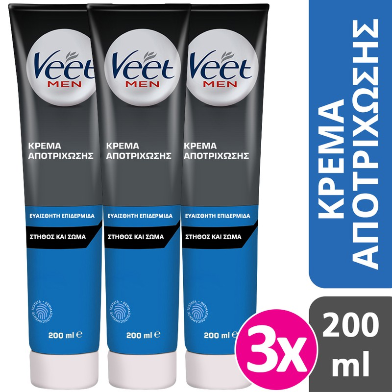 Veet Veet 3 X Men Hair Removal Cream For The Body 3x200ml
