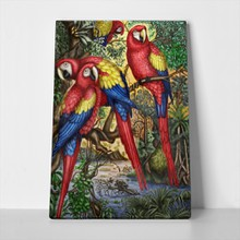Red parrots painting jungle 142735549 a