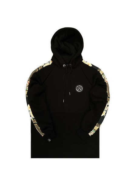 VINYL ART CLOTHING BLACK FLORAL STRIPED SIDE HOODIE