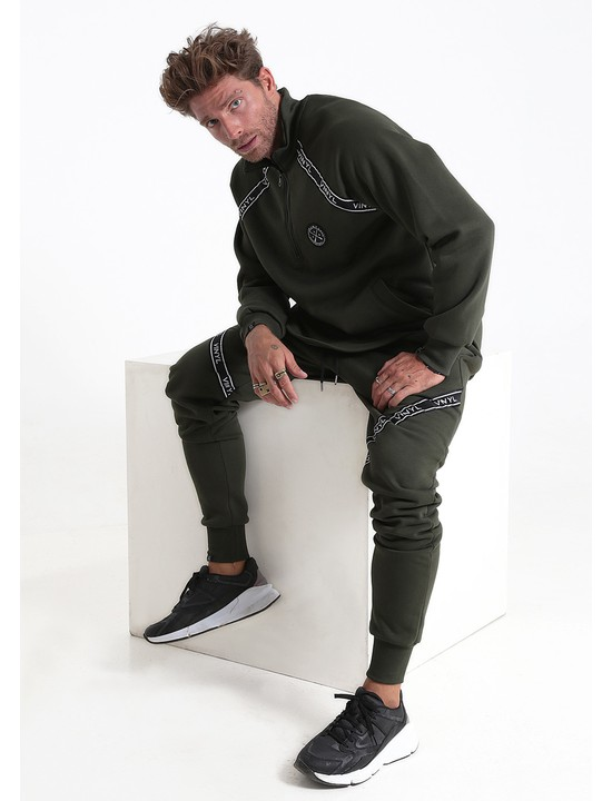 Vinyl tracksuit with taping khaki