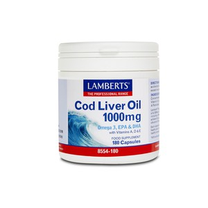 LAMBERTS Cod liver oil 1000mg Omega 3, EPA & DHA with vitamins A,D & E 180κάψουλες